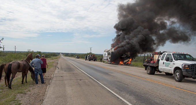 Firefighters respond to horse trailer fire on Highway 67