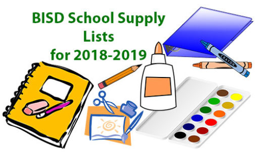 School supply lists for 2018-19 academic year