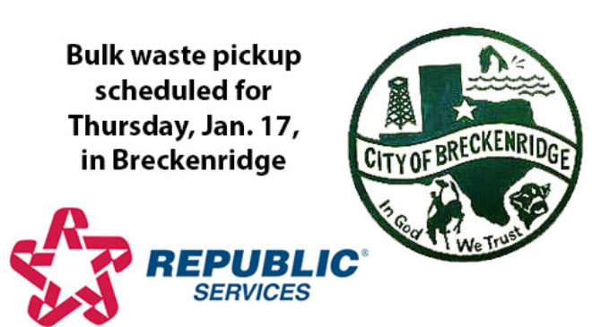 Bulk pickup scheduled for Thursday for Breckenridge