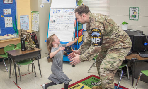 Military dad surprises daughter at East Elementary