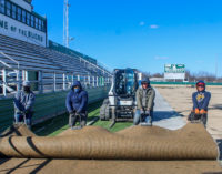 Tearing up the turf: Old artificial grass removed from Buckaroo Stadium
