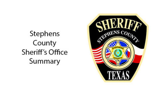 Stephens County Sheriff's Office Summary for March 30-April 18