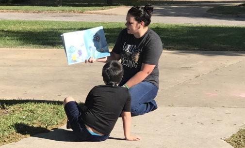 Kindergarten teacher takes her lessons to the driveways of Breckenridge