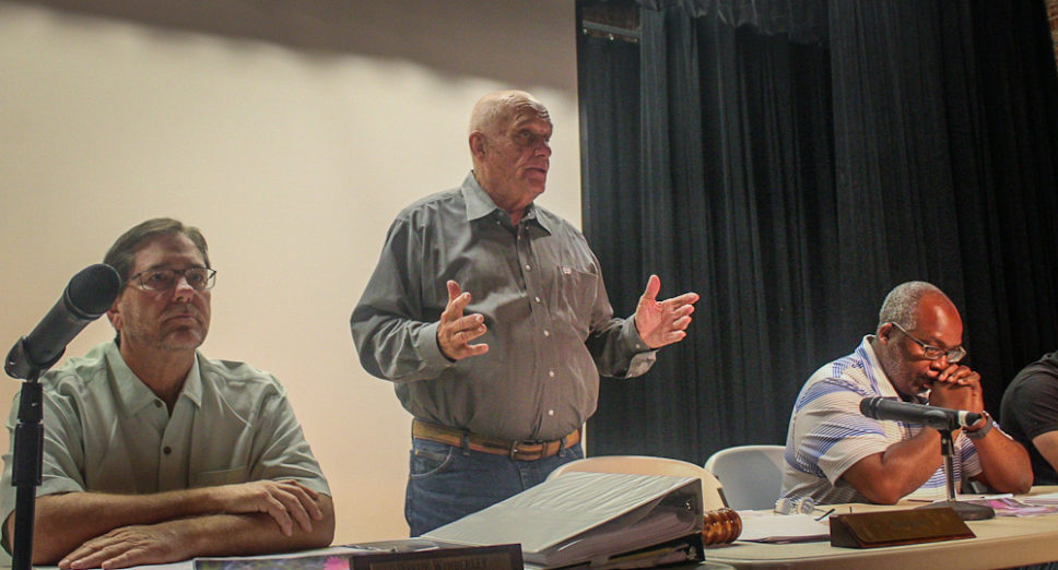 Citizens speak out during Breckenridge City Commission meeting at National Theatre