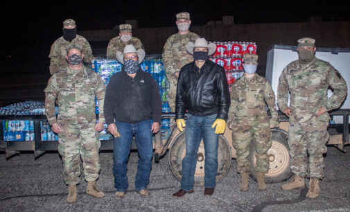 National Guard delivers cases of water to Stephens County for Sunday distribution