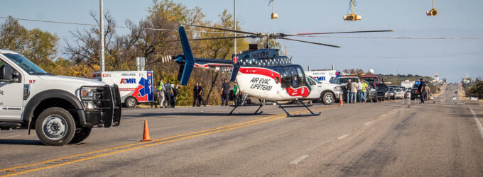Two transported by air ambulance after one-vehicle rollover on U.S. 180 on Friday afternoon
