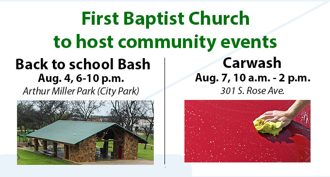 First Baptist Church to host community events on Aug. 4, Aug. 7