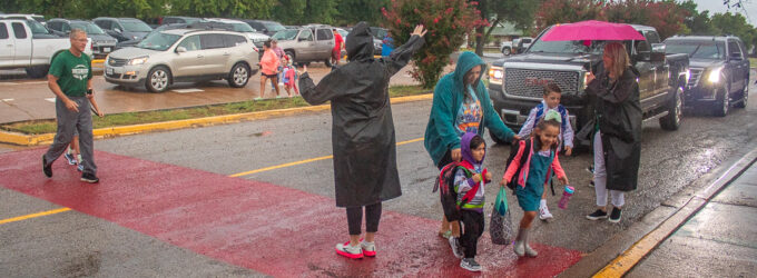 Breckenridge students get soggy start to new school year