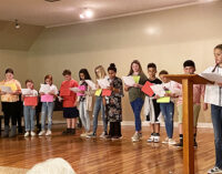 Fifth graders present Constitution play at Woman's Forum meeting